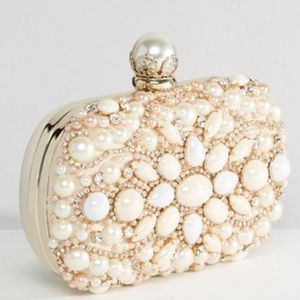 Beaded and pearl box clutch